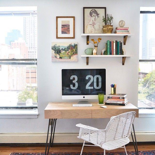 office / shelves above desk