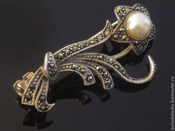 Купить Серебряная брошь с марказитами (925) - серебро 925 пробы, серебряная брошь, винтажная брошь