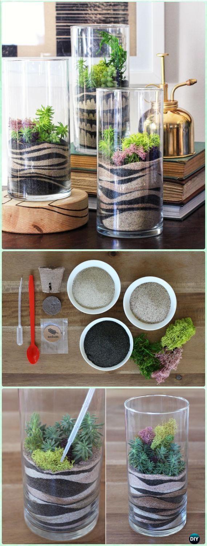 DIY Luxious Moss Glass Vase Sand Art Terrariums Instruction - DIY Sand Art Terririum Ideas Projects