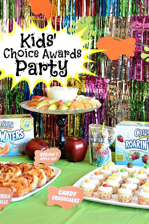 We have lots of great kid's party ideas for a Nickelodeon Kids' Choice Awards Party party with Sponge Bob, Once Upon a Time, Teenage Mutant Ninja Turtles and more! Simple DIY crafts and fun party recipes! #KidsChoiceDrink #ad