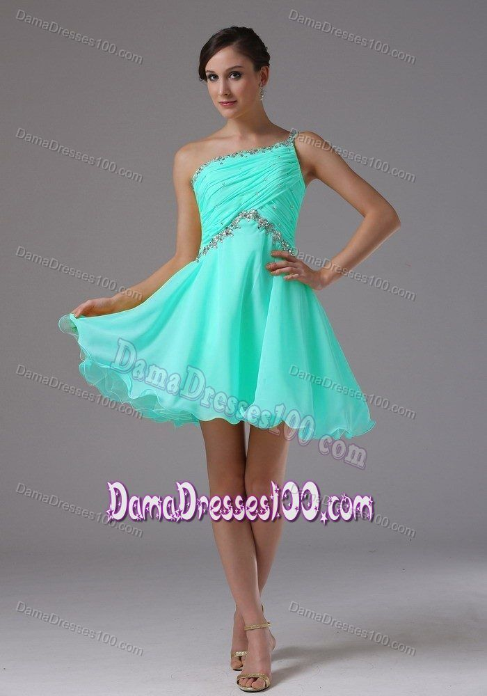 One Shoulder Baby Blue Beading 15 Dresses For Damas with ...