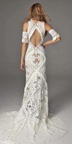 rue de seine brautkleider boho meerjungfrau open bac lace floral verschönerung   – Dresses & Shoes