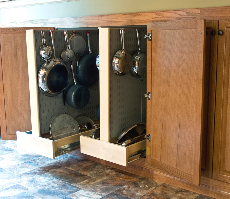sliding pegboard cabinet drawers i think this would be more useful than the pan cabinet - Kitchen Pegboard Ideas