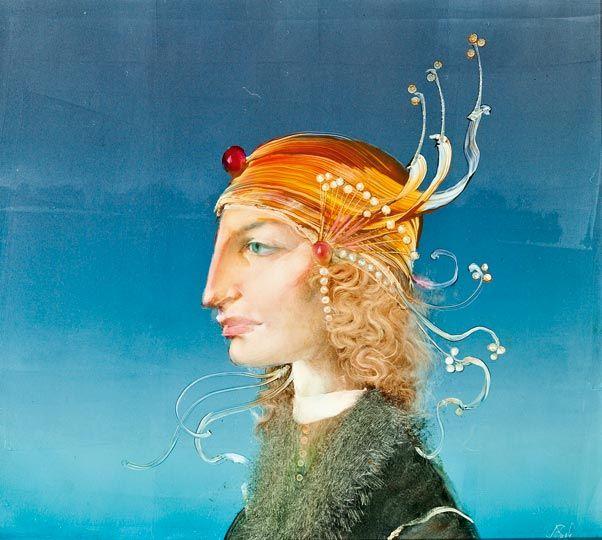 Szász Endre - Fejdíszes női portré, olaj, műlemez