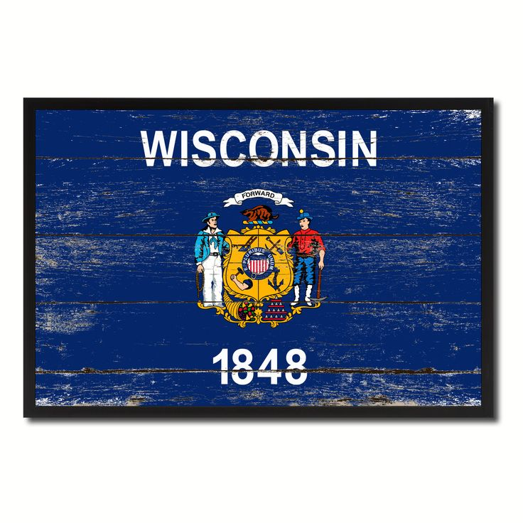 Wisconsin Flag Canvas Print, Picture Frame Gift Ideas Home Décor Wall Art Decoration