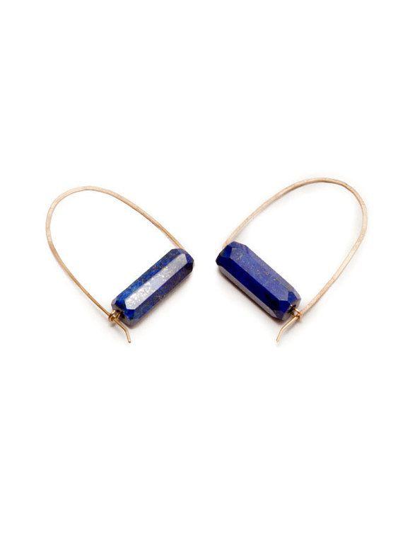 Single Lapis Loop Hoops - Gold Fill Wire Hoops, Lapis Lazuli Tube Bead