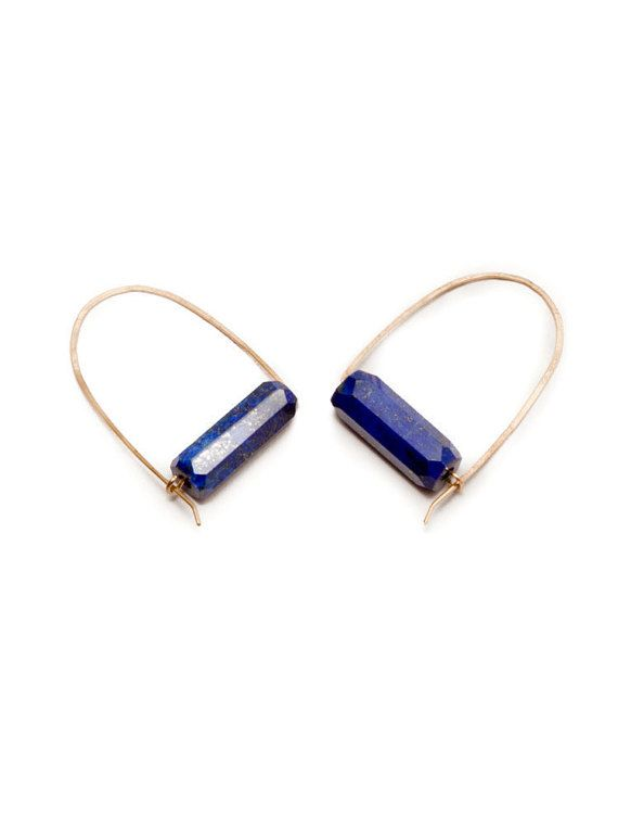 Deep blue Lapis Lazuli gemstone earrings, gold fill hoops, hammered earings.  Hand-forged and formed gold fill hoops have been anchored with these