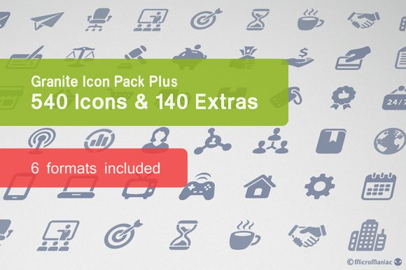 Check out Granite Icon Pack Plus by Micro Store on Creative Market