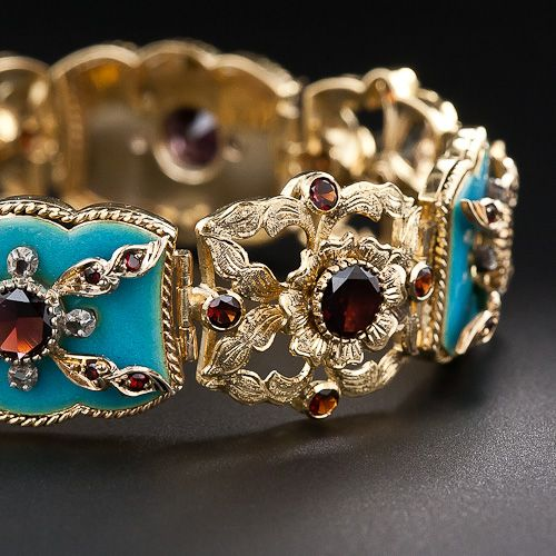 Antique Turquoise Enamel and Garnet Bracelet