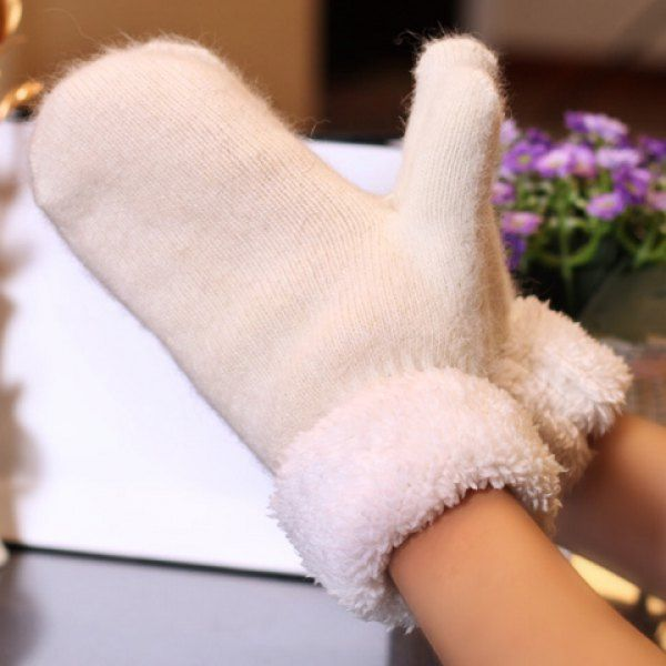 Pair of Chic Solid Color Thicken Women's Knitted Gloves #shoes, #jewelry, #women, #men, #hats, #watches