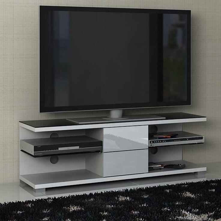 New TV Board in Wei Hochglanz Schwarz Glas get nt Jetzt bestellen unter https moebel ladendirekt de wohnzimmer tv hifi moebel tv lowboards uid ud