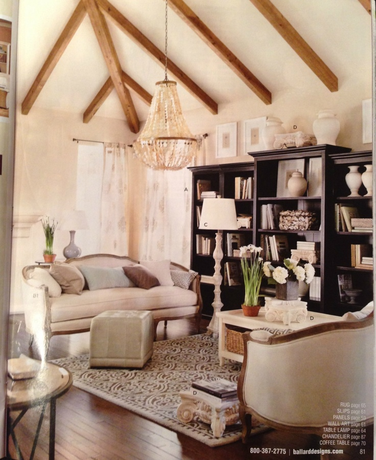 I'd love this look for a library someday!  A little glam, a little rustic with exposed beams.