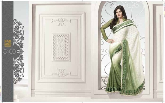 Shaded saree in off white and green, The Saree is in a lovely soft georgette crepe in a fresh green and offwhite shaded combination fabric with a green border all the way along the saree.  £129.99