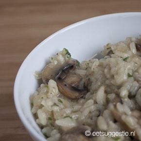 Een klassieke champignon risotto, maar dan veganistisch
