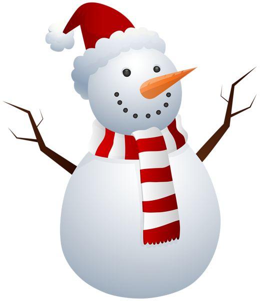 Snowman With Santa Hat Clip Art