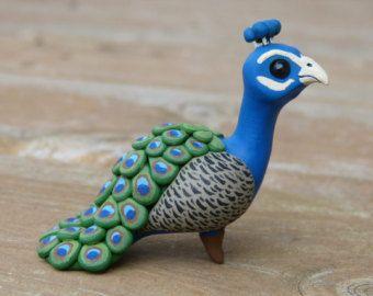 Polymer Clay Animal Figures | Tiny peacock- Handmade miniature polymer clay animal figure
