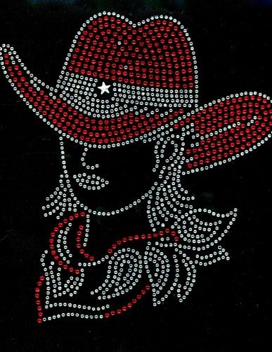 Cowgirl With Hat Red Rhinestone Transfer Iron On