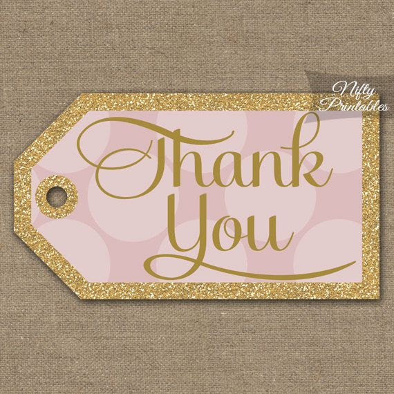 Pink Gold Thank You Tags Printable Gold by NiftyPrintables
