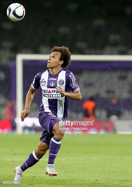 Martin Braithwaite for Toulouse FC looks on the ball during the french Ligue 1 match between Toulouse FC and AS Monaco at Stadium Municipal on August...