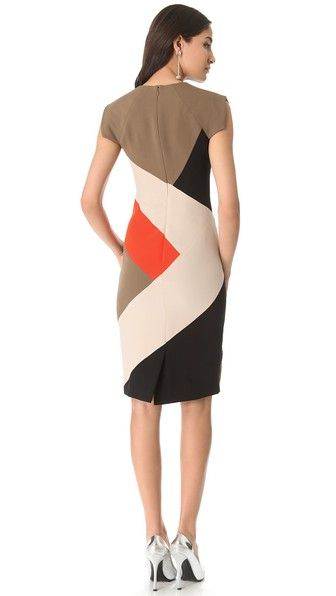 Lela Rose Colorblock V Neck Dress