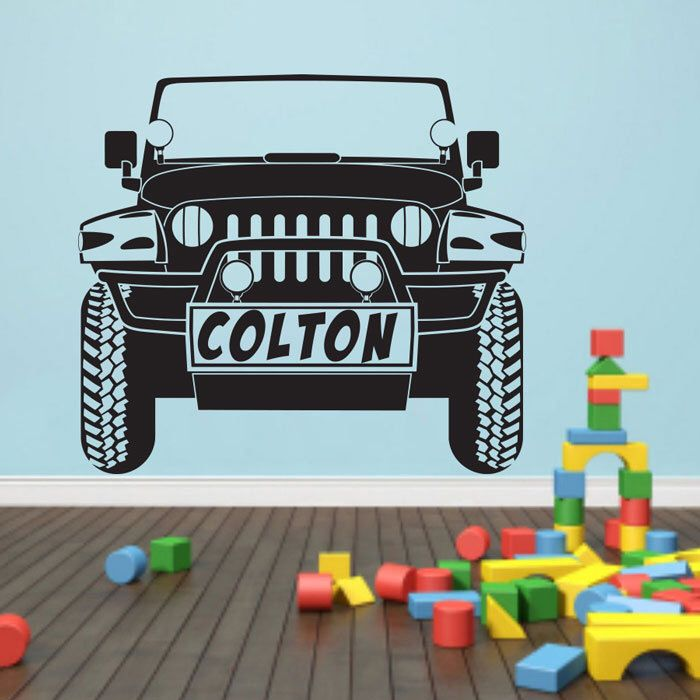 Personalized car name Jeep Wrangler Wall Decal Art Decor Sticker by VinylWallArtworks on Etsy https://www.etsy.com/listing/233404930/personalized-car-name-jeep-wrangler-wall