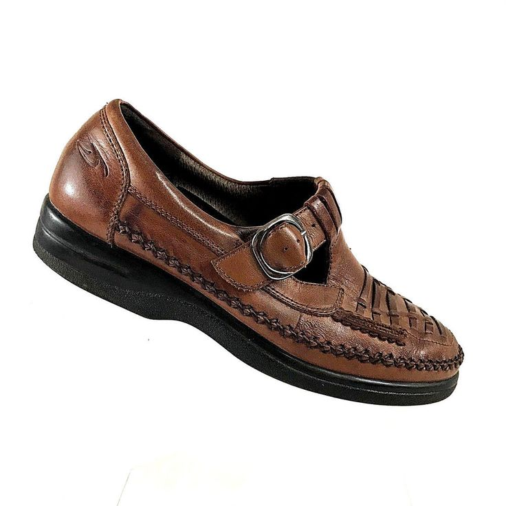 Dr Scholls Womens Shoes Brown Leather Edith with Buckle Size 7 Moc Toe  Loafers