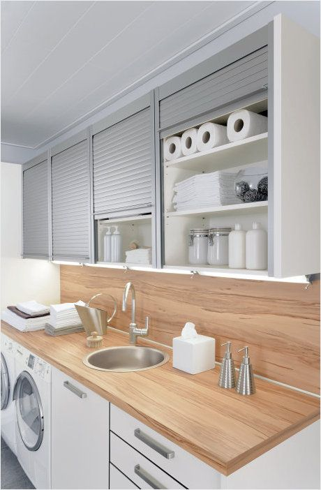WOODEN Bench & Backsplash - ALNO roller shutter wall units