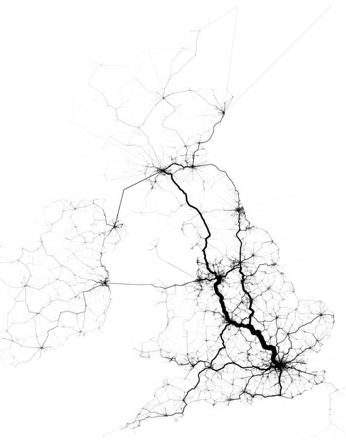 Data-mapping expert Eric Fischer has used geolocated Tweets to find the most frequently travelled routes in US cities. Could this sort of data be used to plan transit systems in the future?