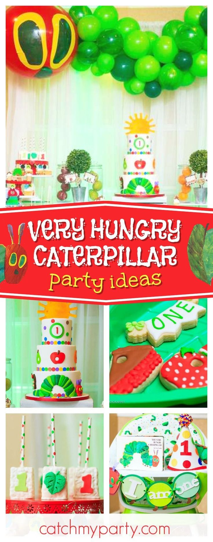 Don't miss this incredible Very Hungry Caterpillar 1st Birthday party! The birthday cake is amazing!! See more party ideas and share yours at CatchMyParty.com #catchmyparty #partyideas #veryhungrycaterpilar #1stbirthday