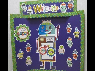 The New Riveting Robots Bulletin Board Set provides a fun way to welcome your students, decorate your walls, feature outstanding student work, and promote instruction related to science, technology, engineering, and math (STEM).