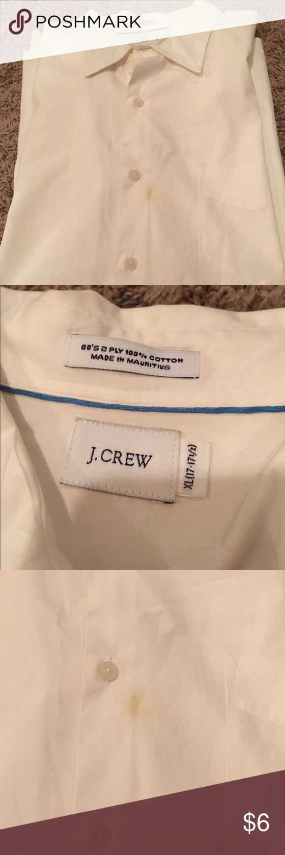 Men's J Crew White Short Sleeve Dress Shirt Slight stain on the front I'm sure can come out. I just haven't had the time to try. j crew Shirts Dress Shirts