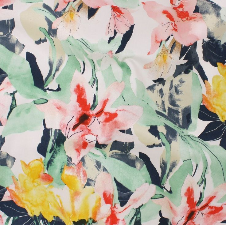 Stretch Cotton Sateen Print - Multi Orchids - Distinctive Sewing Supplies