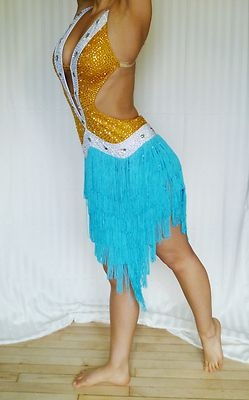 Just reduced: AB crystal teal blue fringe ballroom latin rhythm dance dress $250