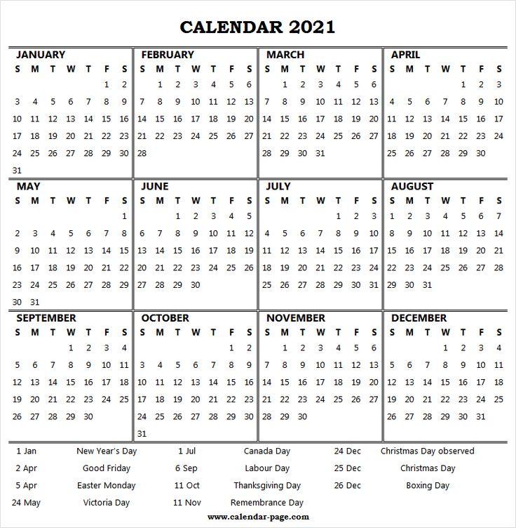 A4 Printable Calendar 2021 Canada 2021 Calendar Year Printable Printable Calendar 2021 Calendar Yearly Calendar