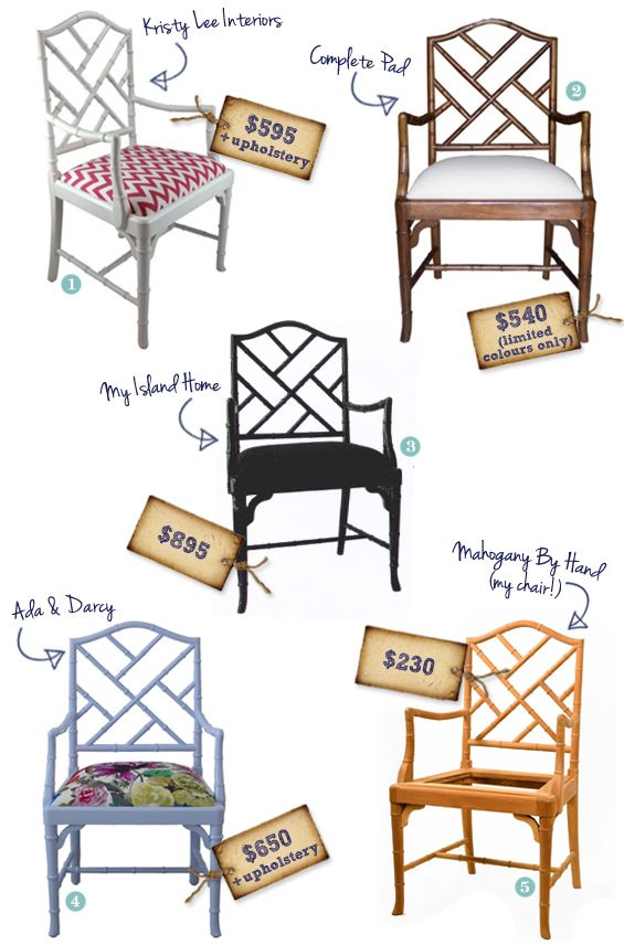 This is a great illustration of why I don't want to get rid of my faux bamboo Chippendale armchairs. I scored 2 for $40 (total) at a thrift store a few years ago! Fresh paint and new upholstery = bargain bonanza.