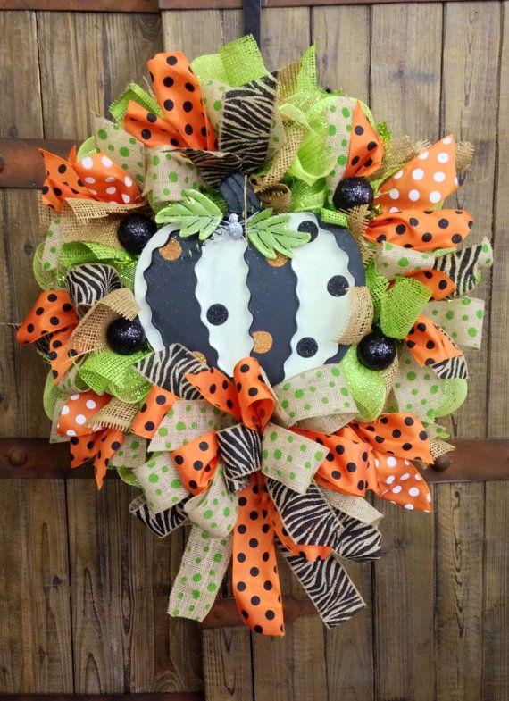 Retro Pumpkin mesh wreath on Etsy, $95.00