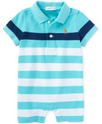 Ralph Lauren Baby Boys' Striped Polo Shortall - Shop All Baby - Kids & Baby - Macy's