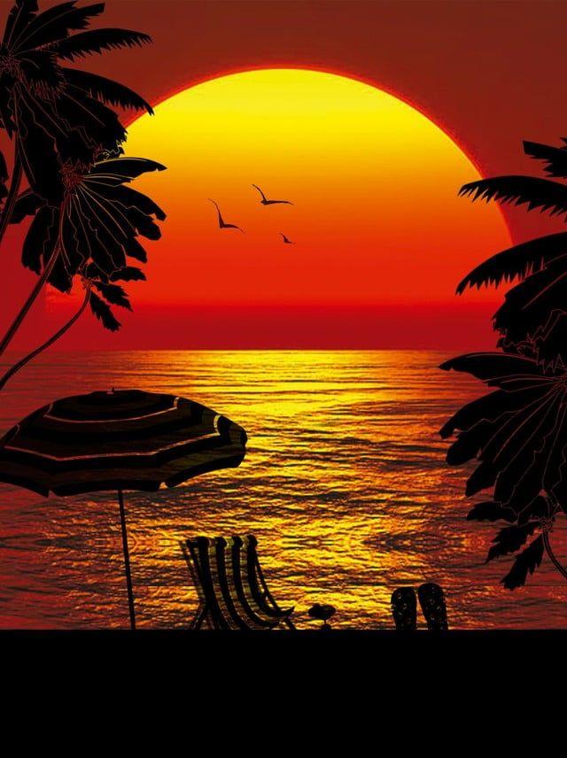 غروب الشمس تحت البحر صورة ظلية ملصق ملف المصدر Background Images Sunset Silhouette Silhouette Painting