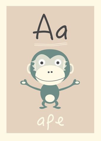 Ape alfabetdyr http://www.barneplakat.no