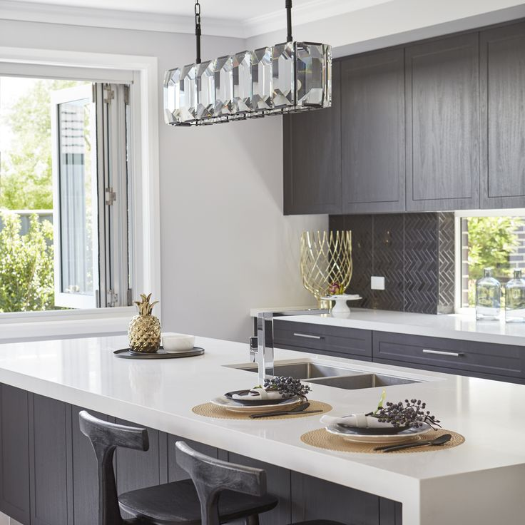 #kitchen #breakfastbar #pendantlight #kitchenstyling #greyandwhite #cupboards #dreamkitchen