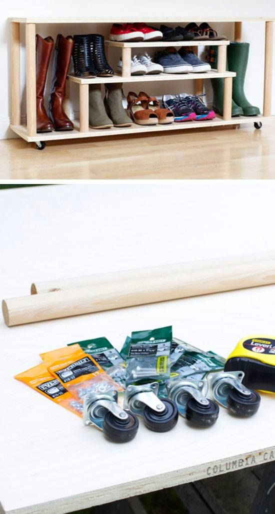 DIY Rolling Shoe Rack   22 Easy Shoe Organization Ideas for the Home
