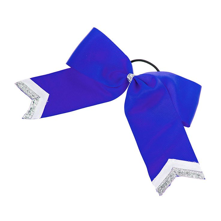 Royal Blue Cheer Bow with Silver Glitter Chevron Tips