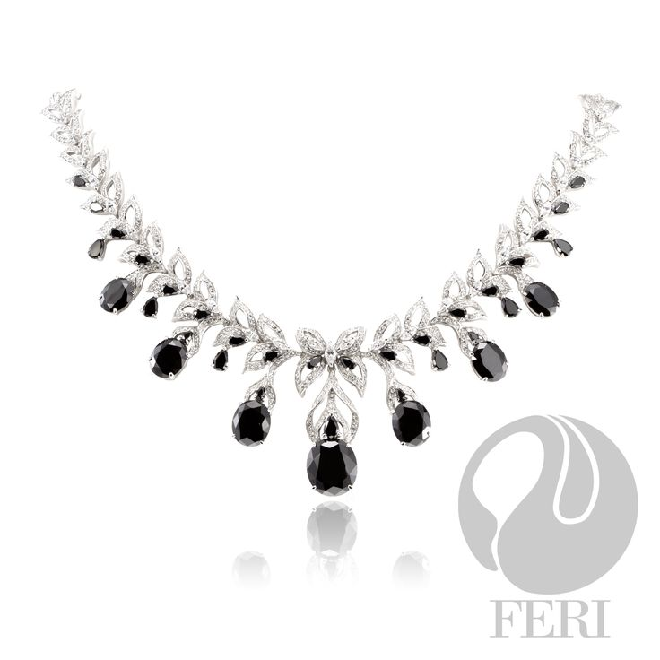"FERI - After Midnight - Necklace - Exclusive FERI 950 Siledium silver - Exclusive dual natural rhodium and palladium plating - Set with exclusive FERI Swan cut lab stones - Colour: white and black - Dimension: Inner length 145mm (5.7""), outer length 180mm (7.1""), with 115mm extender (6.1""), stone 15mm x 12mm (0.6"" x 0.5"") - 74.5/gm/wt. - stones:PS.4X2,5X3,6X4, Oval-10*8,12*10, 15x13, - stones:Nav. 5x3, RD.3MM    www.gwtcorp.com/ghem or email fashionforghem.com for big discount"
