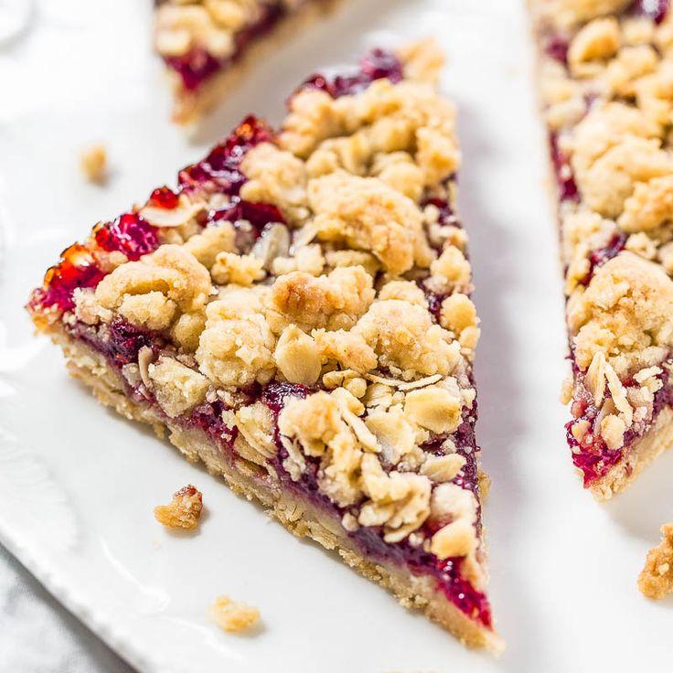 Raspberry Oatmeal Crumble Bars - Averie Cooks