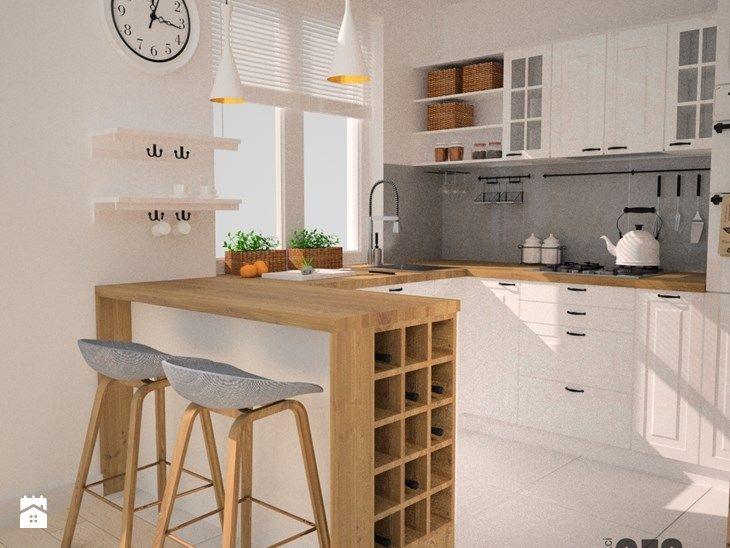 Projekt kuchni i salonu - Mała kuchnia, styl skandynawski - zdjęcie od OES architekci