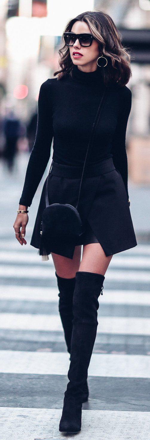 #winter #fashion /  Black Dress / Black OTK Boots