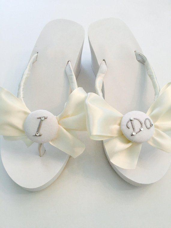 fb1dd990faaab I DO Wedding Flip Flops.Wedges.Bride IDo Sandals. Wedding Shoes.Beach  Wedding Shoes. Bridesmaid Sandals. Bride Sandals.