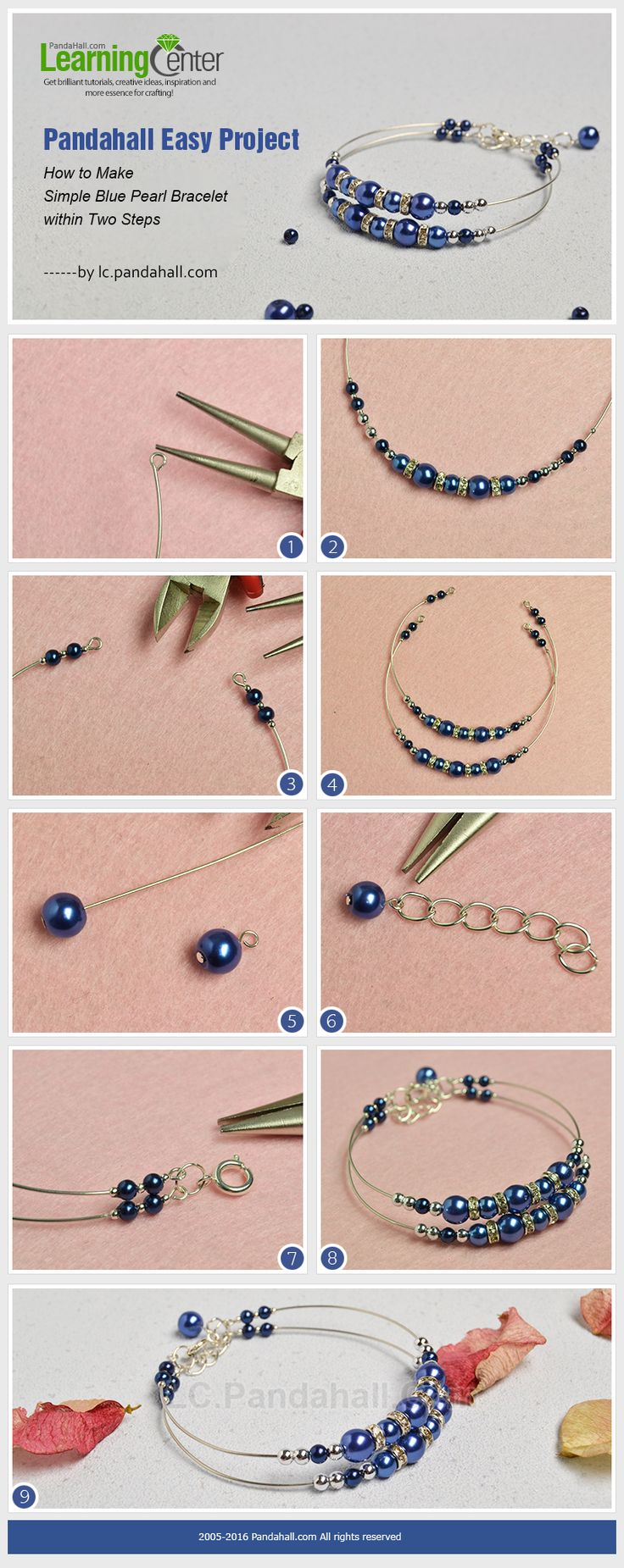 Pandahall Easy Project- How to Make Simple Blue Pearl Bracelet within Two Steps