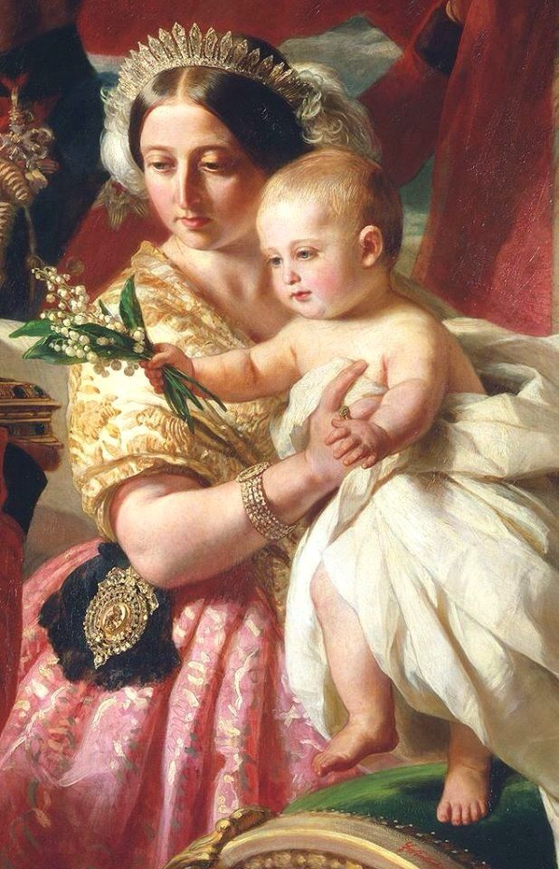 Queen Victoria wearing the King George tiara, which was made for her grandmother, in a detail of a painting by Winterhalter showing Queen Victoria presenting Arthur (Prince Arthur, Duke of Connaught) to the Duke of Wellington, who was one of Arthur's godparents. Queen Victoria was the granddaughter of King George the Third.