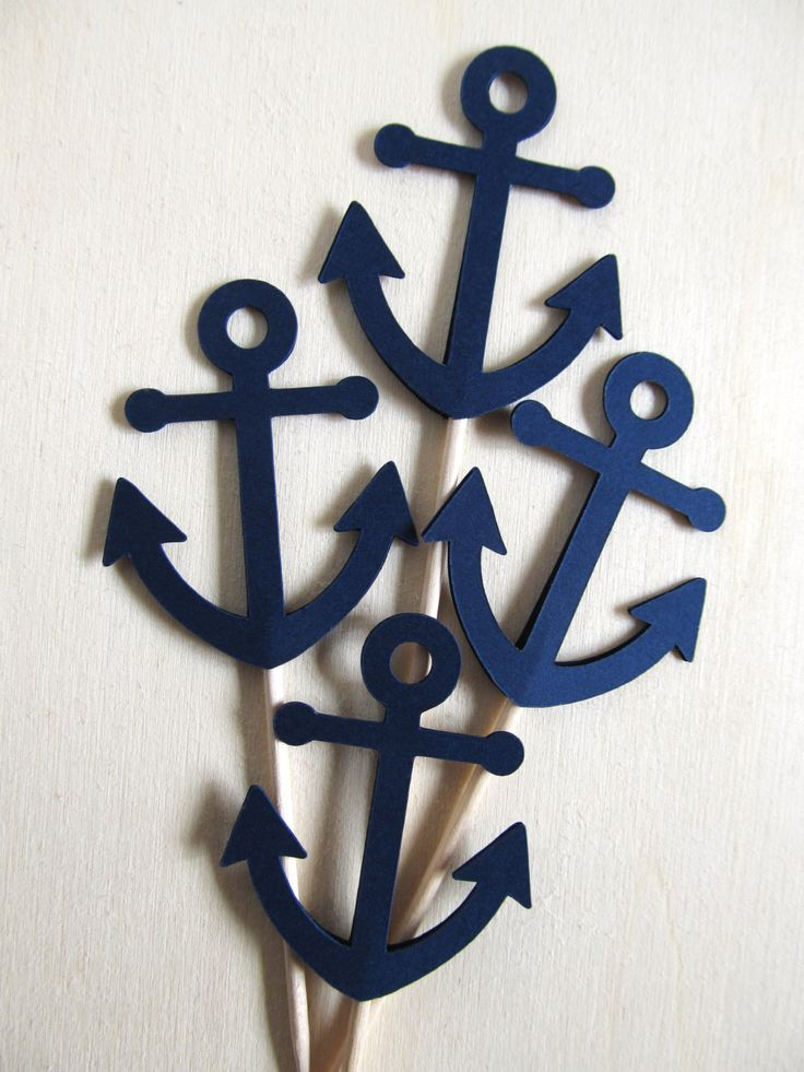 Nautical Anchor Cupcake Toppers, Baby Shower, Wedding, Party Decor, Dark Navy, Double-Sided, Set of 18 - pinned by pin4etsy.com
